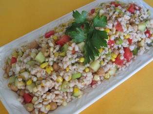 Barley Salad with Corn and Tomato Vinaigrette