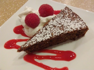 Chocolate Almond Torte with Raspberry Coulis