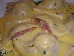Corned Beef and Cabbage Ravioli with Mustard Cream Sauce