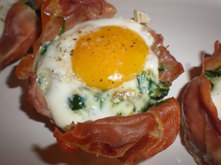 Prosciutto, Spinach, and Egg Cups