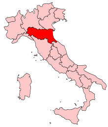 Map of Italy with Emilia-Romagna region highlighted