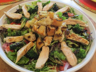 Grilled Chicken and Broccoli Salad with Creamy Parmesan Dressing