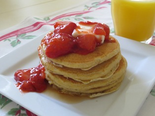 Cinnamon Polenta Pancakes with Strawberry Sauce
