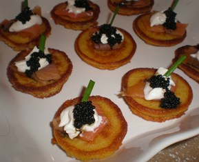 Polenta Cakes with Salmon and Caviar