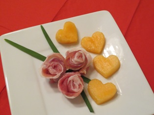 Prosciutto Roses with Melon Hearts