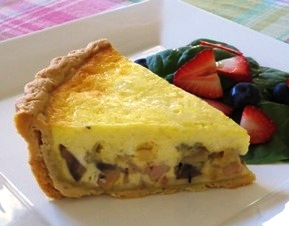 Deep-Dish Ham, Mushroom, and Onion Quiche