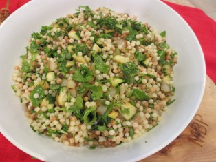 Fregola Salad with Charred Zucchini and Onion