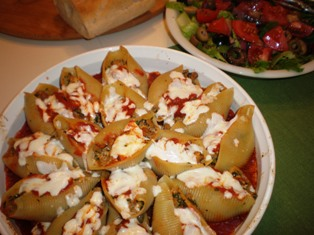A wonderful Italian pasta dish - Stuffed shells with Sausage, Spinach, and Ricotta