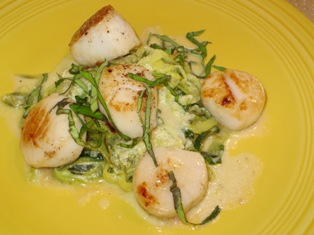 Scallops over Zucchini Pasta with Goat Cheese