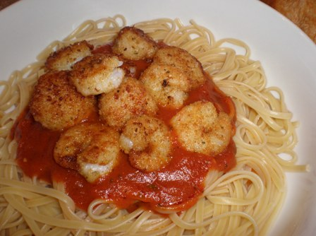 Sauteed Shrimp and Scallops over Linguine
