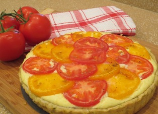 Tomato and Ricotta Tart with a Basil-Garlic Crust