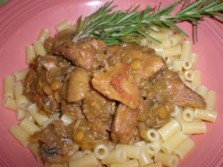 Veal with Lentils and Pasta